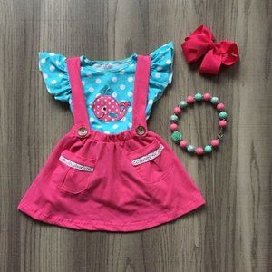 Other - Boutique Whale Suspender Skirt Girls Outfit Set